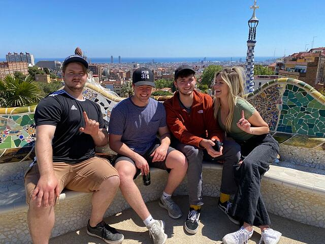 Andy and his friends at Parc Guell in Barcelona