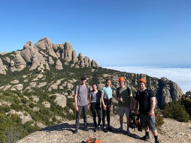 Andy and his roommates spent the day hiking up Montserrat