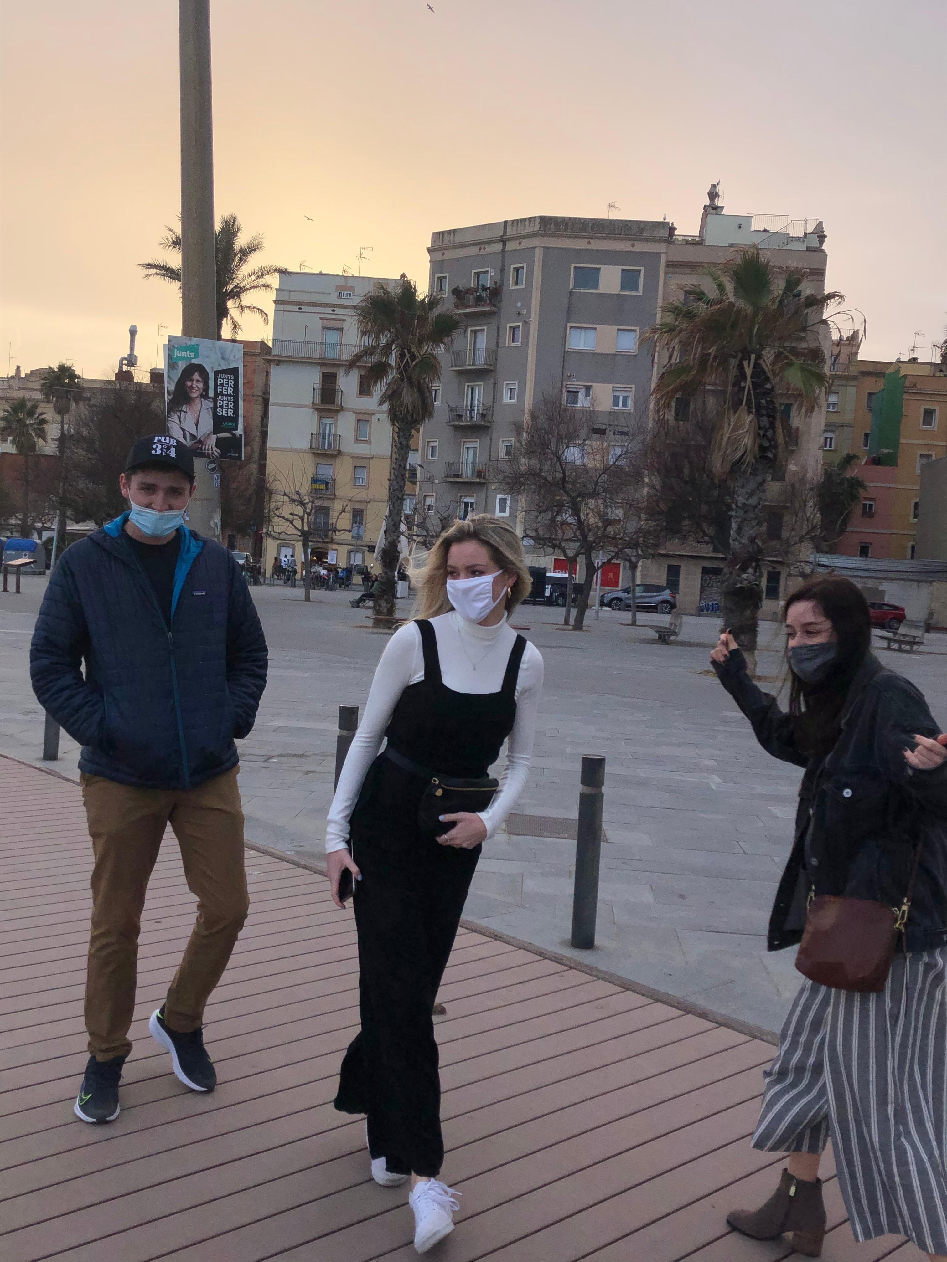 Exploring Barcelona with friends.