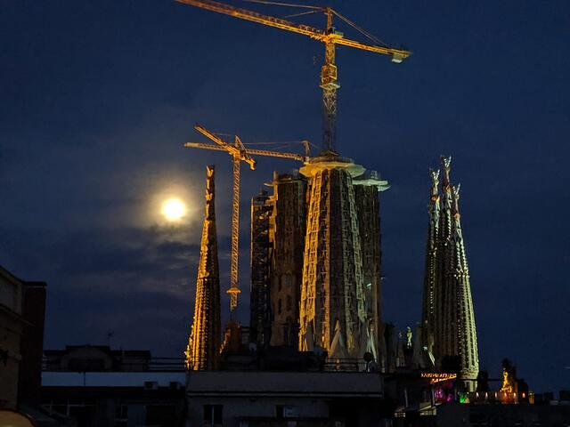The Sagrada Familia at night