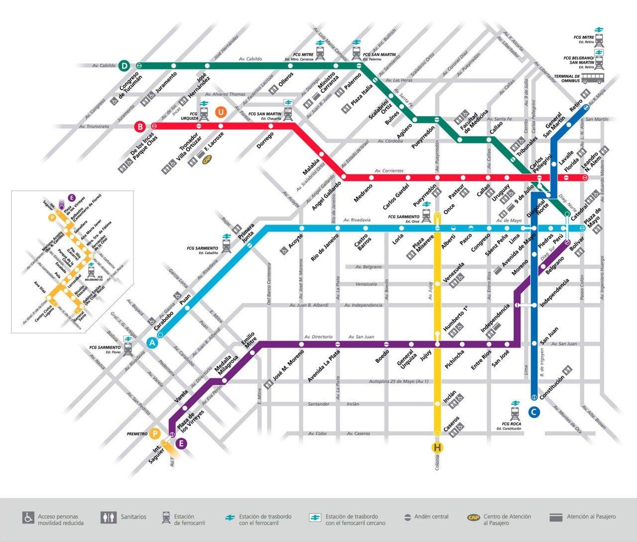 CAPAStudyAbroad_Buenos Aires_Summer 2018_From Nora Callahan - Subway (Subte) Map of Buenos Aires