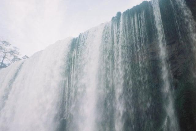 A Closeup of Waterfalls at Iguazu Falls on Film