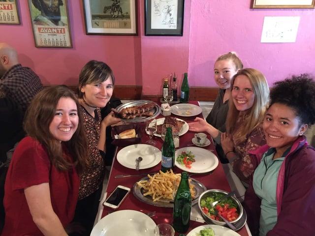 My Global Cities Class Eating Parilla in San Telmo
