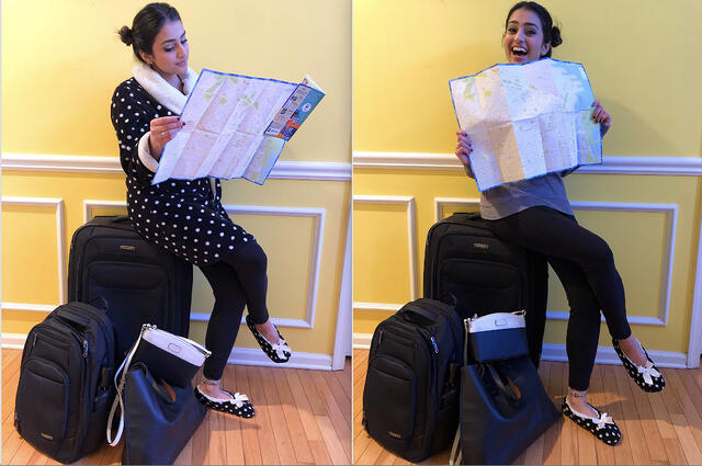 Blogger Shivani Pandya sits atop her luggage with Map of Buenos Aires