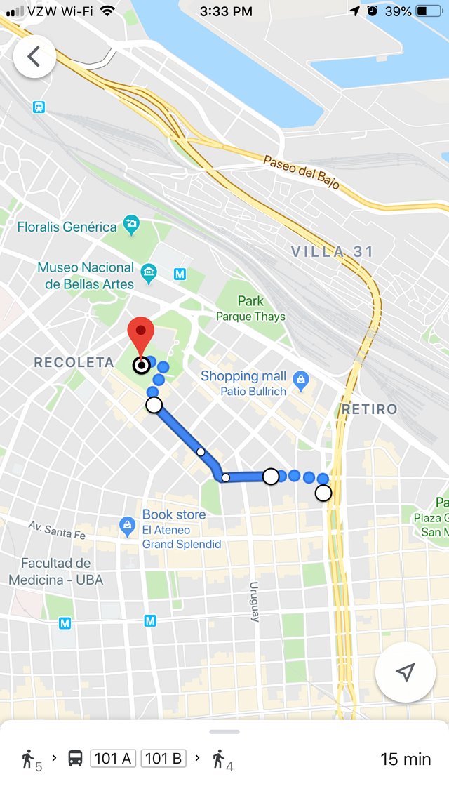 Google Map Route to Recoleta Cemetery from CAPA