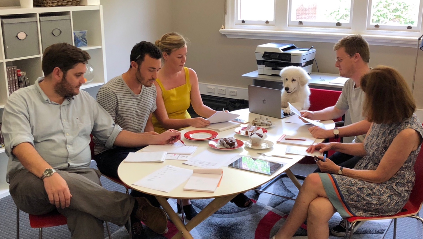 CAPAStudyAbroad_From Sam Grant_Interview_Team Meeting at CAPA Sydney with Resident Pooch Louie.jpg