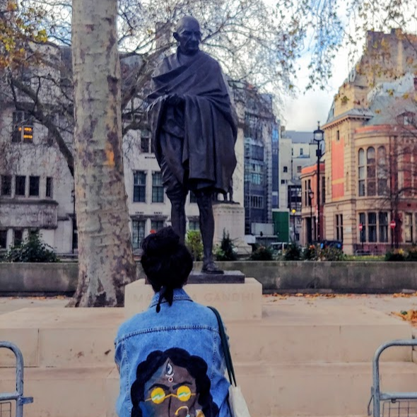CAPAStudyAbroad_London_Fall 2019_Uma Balaji_Uma in front of Gandhi Statue-1