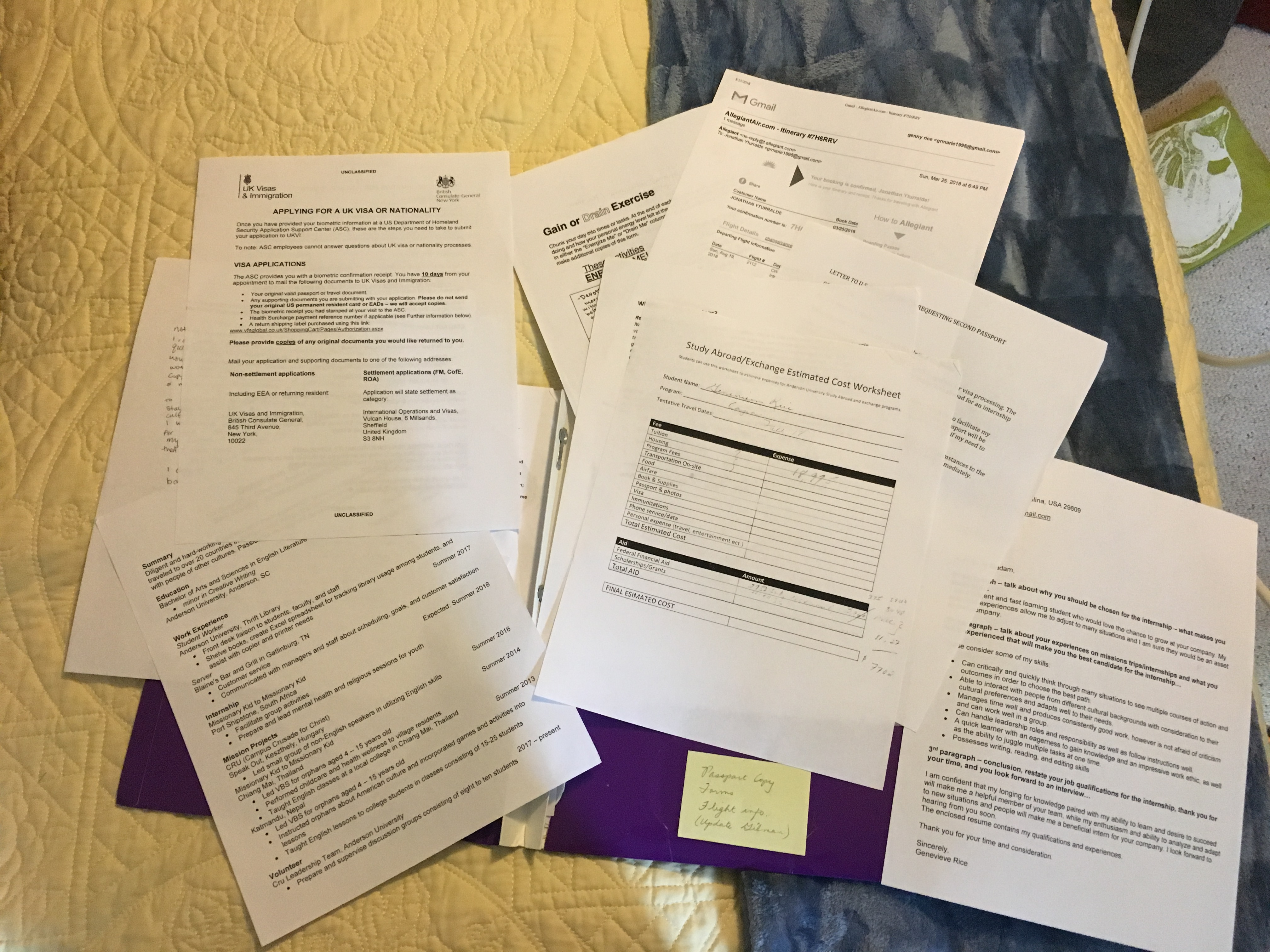 CAPAStudyAbroad_London_Fall2018_From Genevieve Rice - Study abroad paperwork