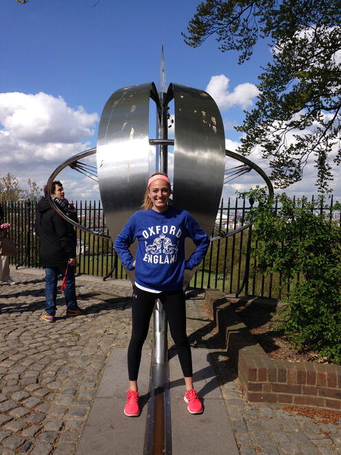 CAPAStudyAbroad_London_Spring2014_Sophia_Love_at_Greenwich_Meridian_Line-1