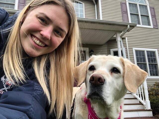 CAPAStudyAbroad_Spring 2020_Working from home_Rachel Long Hangs with her Dog-1