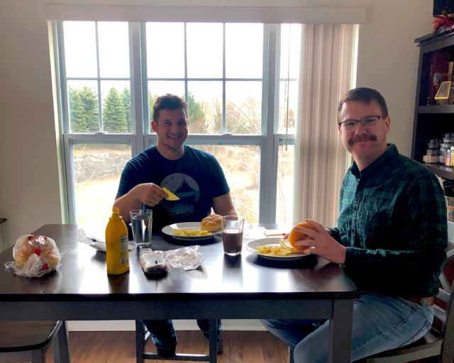 CAPAStudyAbroad_Spring 2020_Working from home_Stas Firek & Roomate Eat Lunch-1