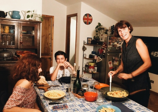 Ganzo Family in Kitchen in Florence.