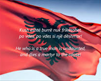 The Albanian anthem and flag