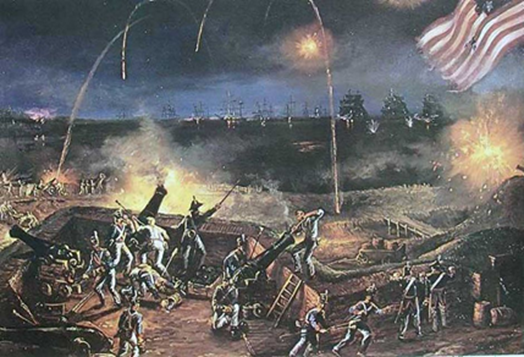 American forces at Fort McHenry defeating erstwhile colonial rulers