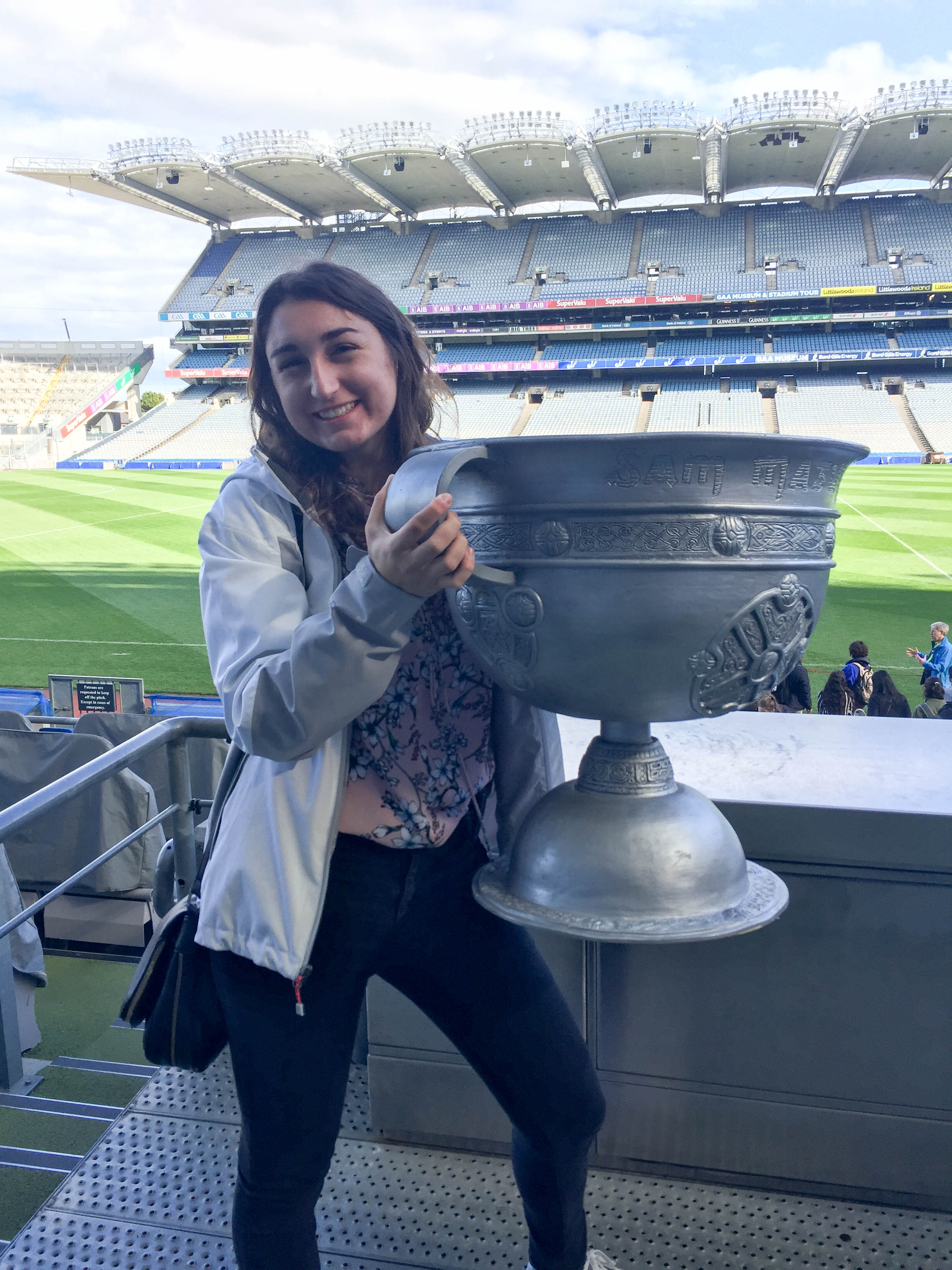 Holding a Replica Cup at Croke Park