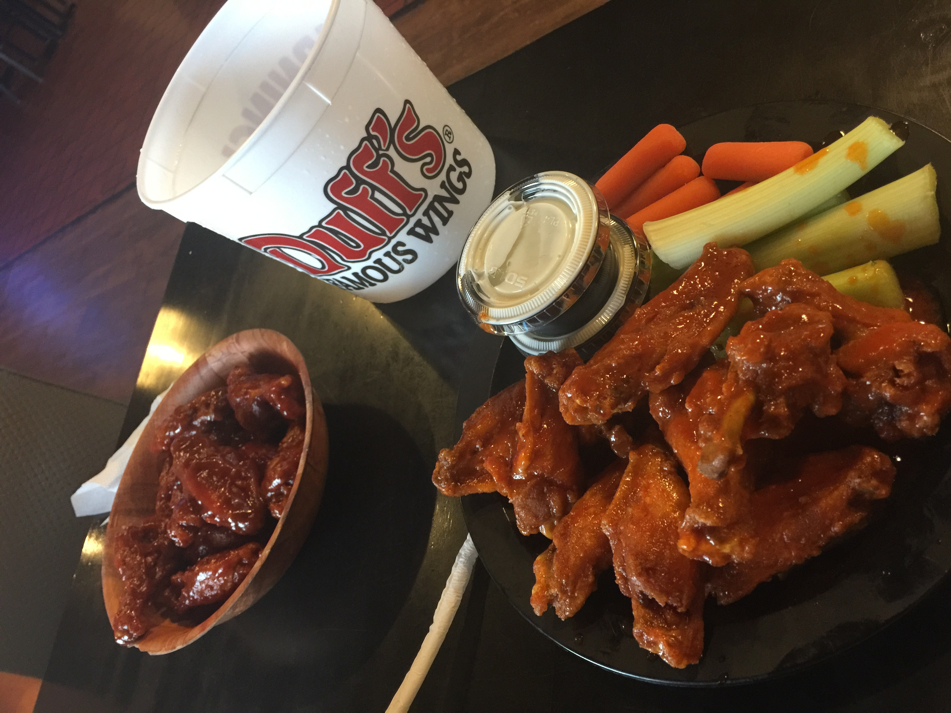 One of my first foods I ate when I got back was chicken wings.