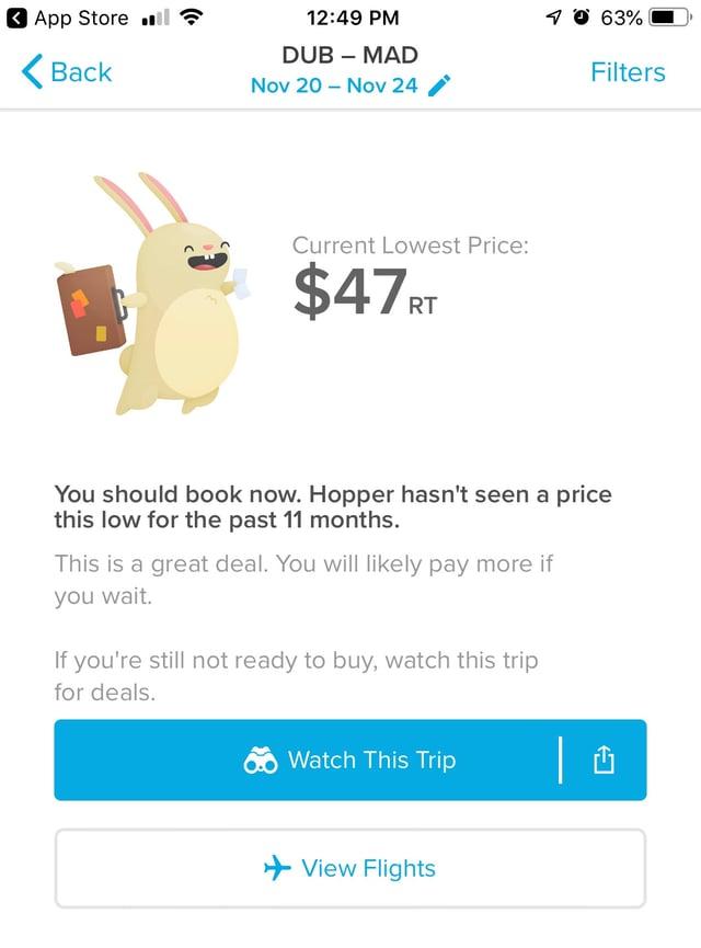 Screenshot of the Hopper App