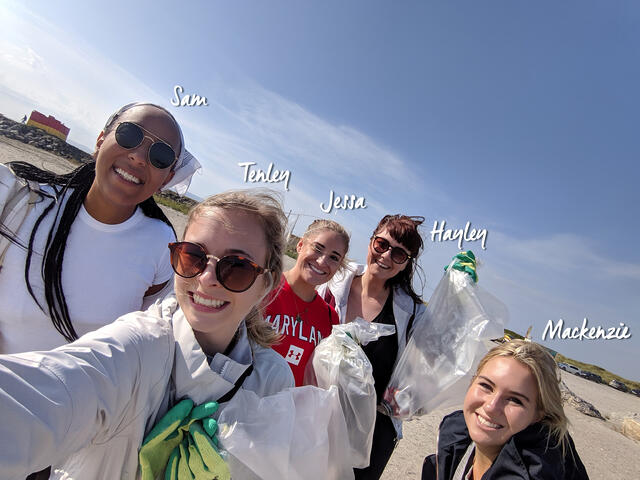 Selfie of CAPA students during Beach Clean