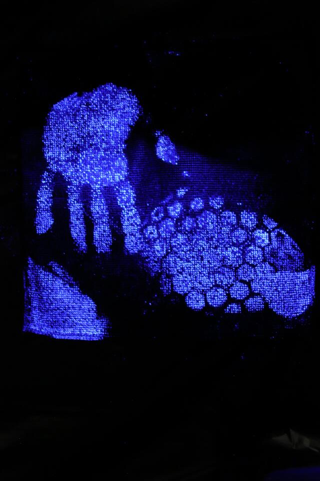 A hand and shoe print under blue UV light (I actually took this picture in my forensic science photography class).