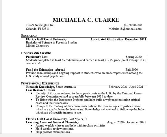 CAPAStudyabroad_2021_remote_Michaela Clarke_resume