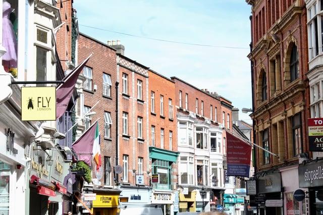 Shopping area in downtown Dublin