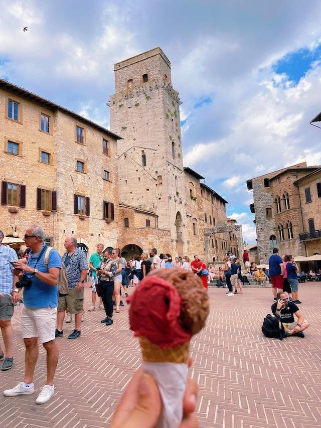 Gelato from Gelateria Dondoli in San Gimignano