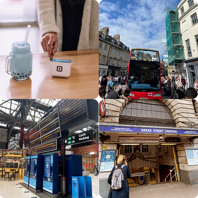 Collage - Credit cards, buses, the tubes, and stations. How London!!