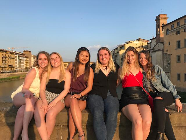 CAPAStudyAbroad_Florence_Spring2018_From Nicole Wong - friends in front of Ponte Vecchio-1