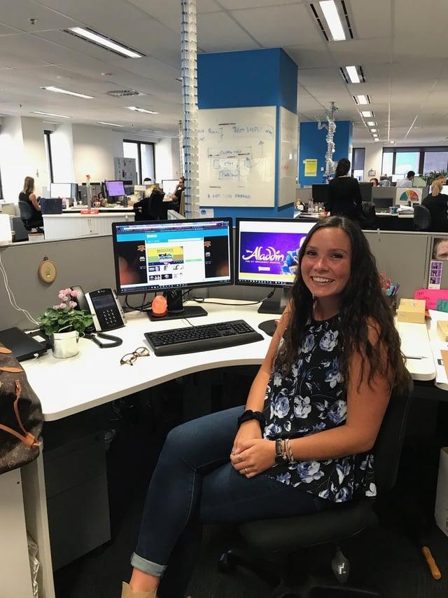 CAPAStudyAbroad_Sydney_Spring2018_From Kaitlin O'Brien - Kaitlin sitting at desk at internship