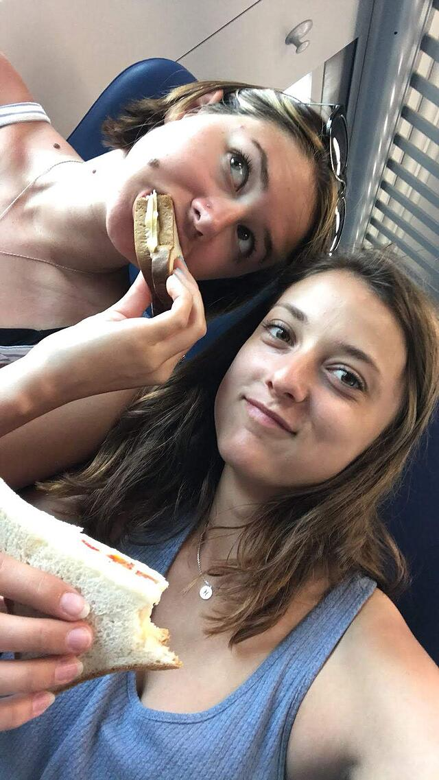 Kylie and I Having Sandwiches on Our Train to Rome