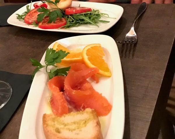 Salmon Aperitivo at a Local Restaurant
