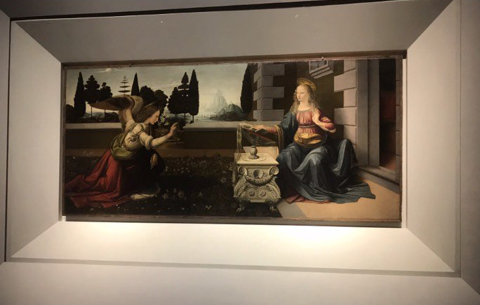 The Annunciation by Leonardo da Vinci in the Uffizi Gallery