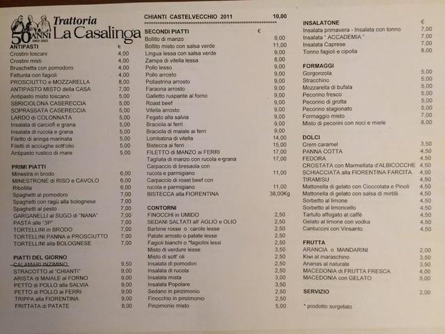 Picture of menu
