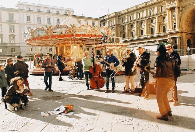 Piazza della Repubblica Carousel and Musicians_35 mm Film