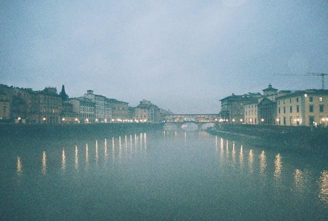 Rainy Shot of the Arno and Ponte Vecchio_35 mm film