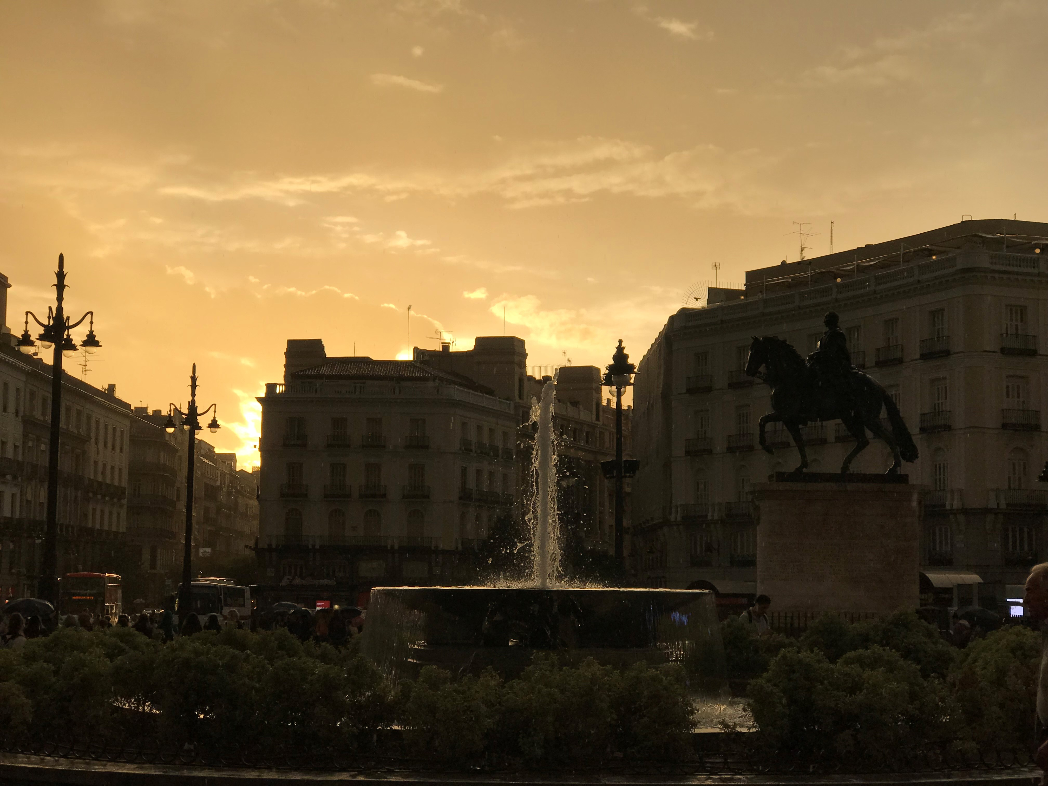 Sunset and Fountain in Madrid, Spain