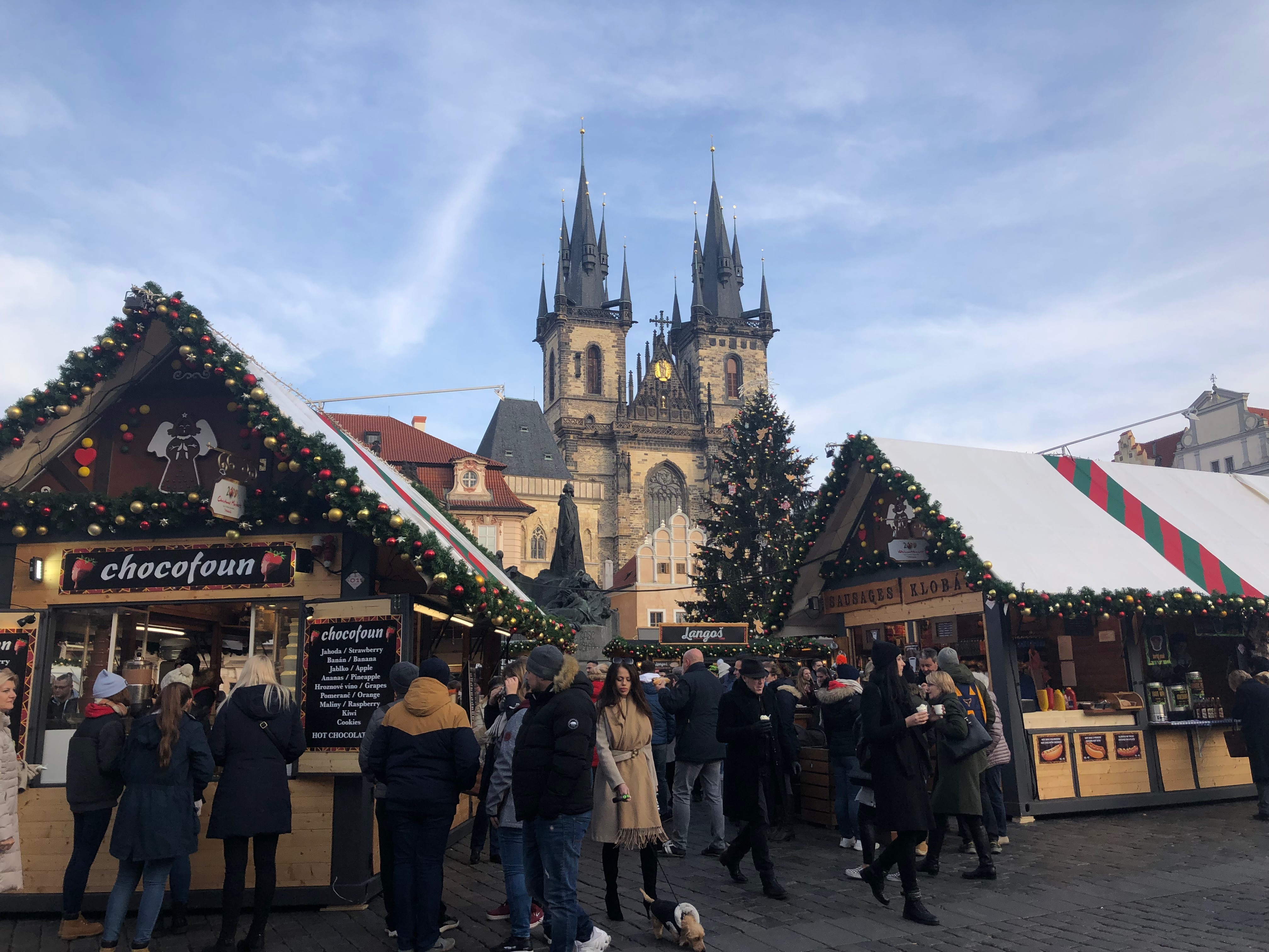 A Christmas market in Prague.