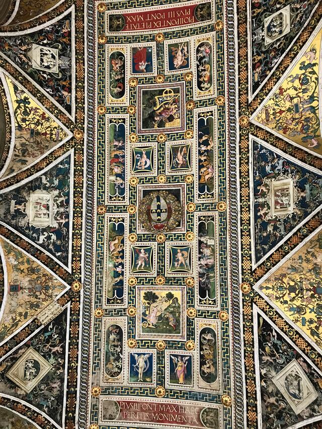 The beautiful ceiling in Piccolomini