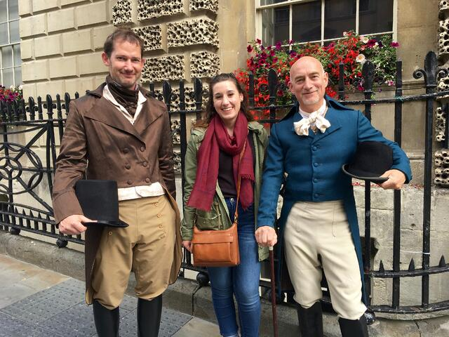 People in Regency Outfits at the Jane Austen Festival in Bath
