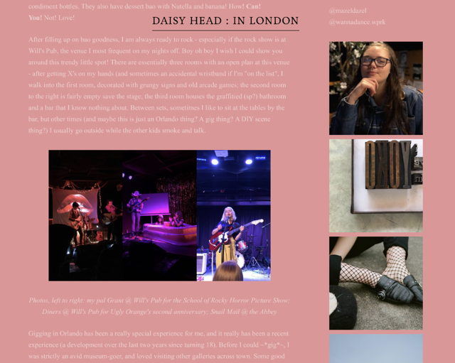 Maisie's Diary-Style Blog