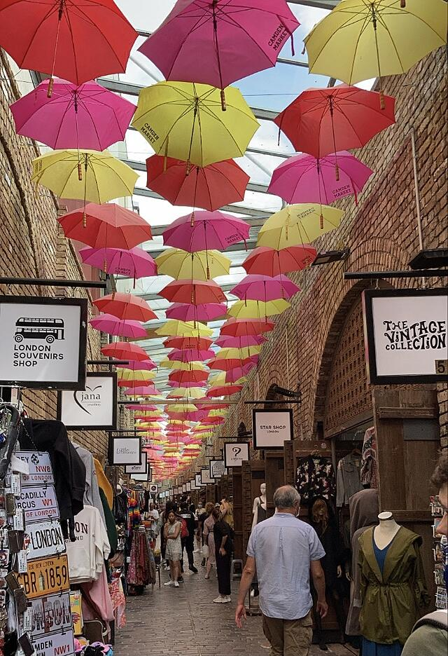 The umbrella ceiling in Camden Market.
