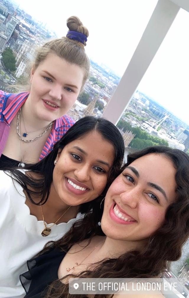 My roommates Dasha, Anjum, and I in the London Eye.