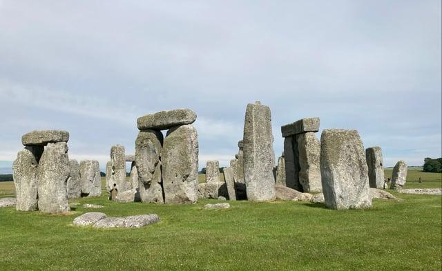The circle of stones at Stonehenge.