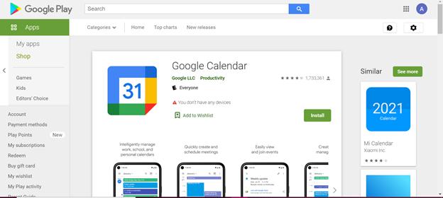 Google Calendar in the Google Play/Apple AppStore.
