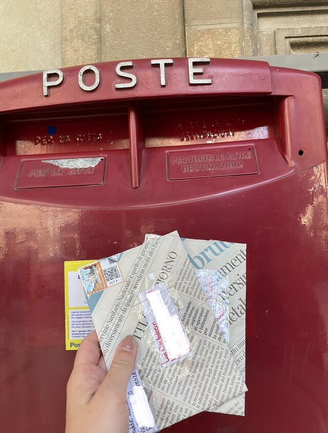 Dropping off snail mail home to my parents.