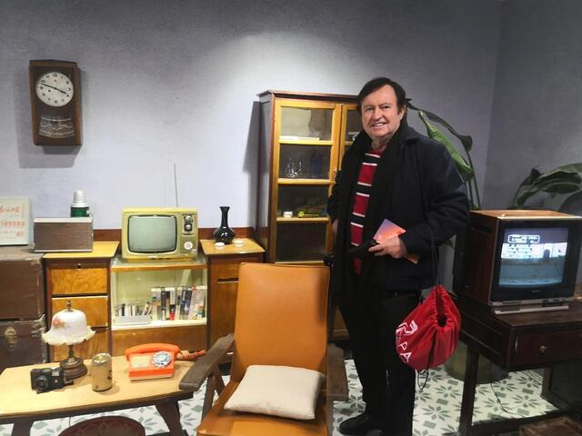 Colin with Old TVs and Equipment