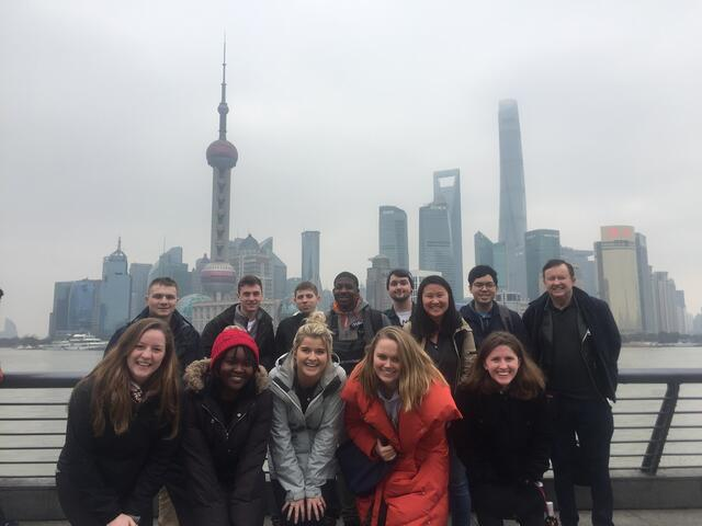 Spring 2019 Students in Front of Pudong Financial Center