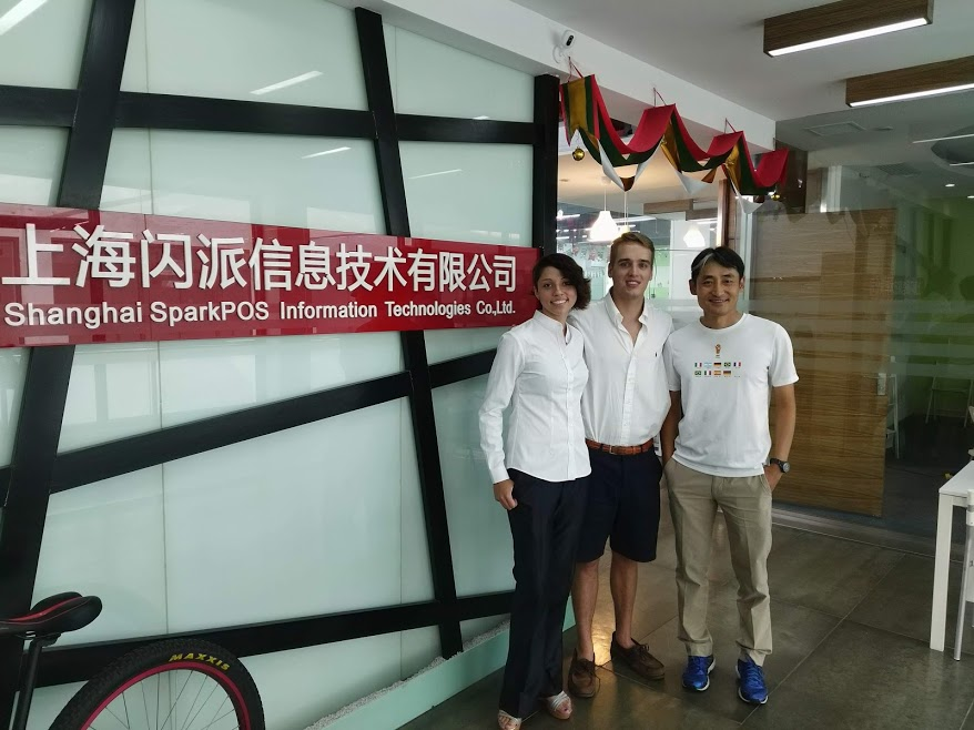 At the Entrance with Fellow Intern Billy Hughes and SparkPad Co-Founder Heikwan