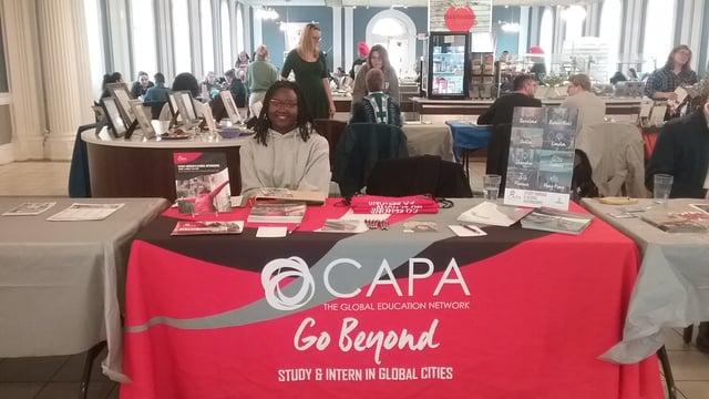 CAPAStudyAbroad_Spring 2020_Ambassador Content_Imani wilson tabling for CAPA