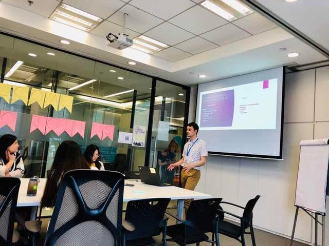 Evan presenting for the English Corner at Capgemini